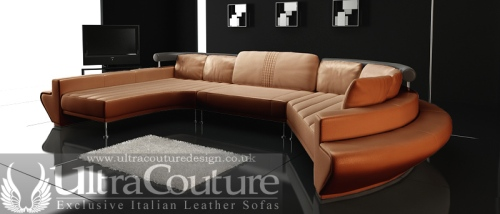 The Vasco Sectional Sofa in luxury Italian Aniline leather