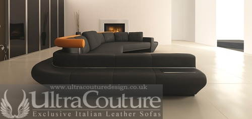 The Vasco Corner sofa in Night Black - Dressed in Italian Aniline leather